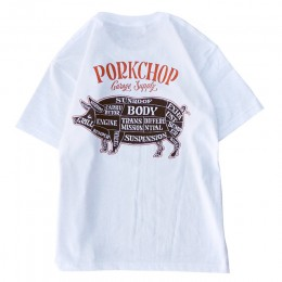 PORKCHOP GARAGE SUPPLY - Pork Back TEE / WHITE x D-BROWN