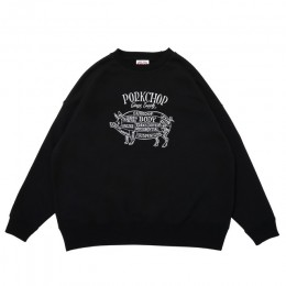 Pork Front Stitch Sweat / BLACK