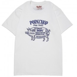 Pork Front TEE / WHITE x NAVY