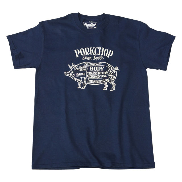 PORKCHOP GARAGE SUPPLY - Pork Front TEE / NAVY