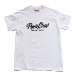 PORKCHOP GARAGE SUPPLY - Script Logo TEE / WHITE x BLACK