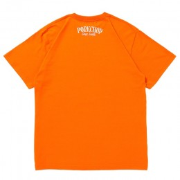 PORKCHOP GARAGE SUPPLY - Pork Front S/S TEE / ORANGE × WHITE