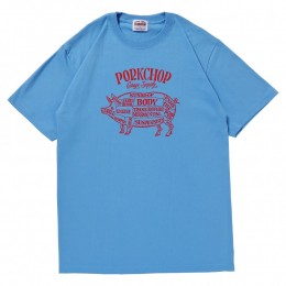 Pork Front S/S TEE / LIGHT BLUE × RED