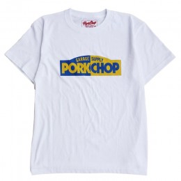 PORKCHOP GARAGE SUPPLY - Block Logo TEE / WHITE x BLUE