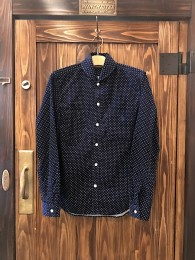 Shawl Collar Corduroy Dot SHT - Navy