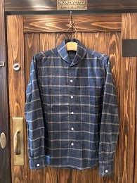 Shawl Collar Flannel Check SHT -Blue