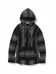 Stroller Hooded Pullover W/A Yarn Mohair Stripe
