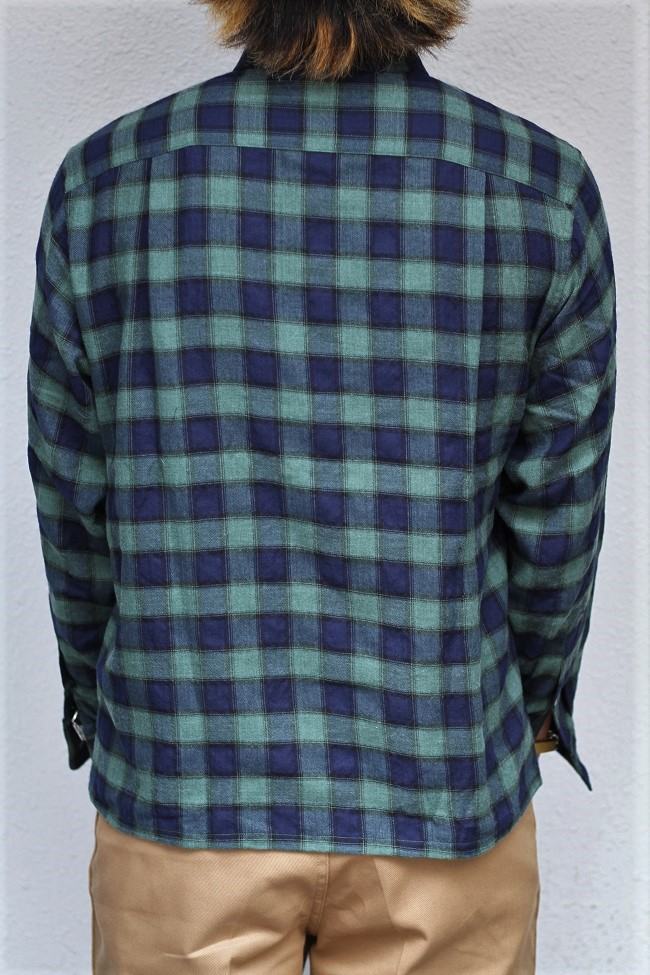 The Stylist Japan - T/C Check Open Collor SHT- GREEN