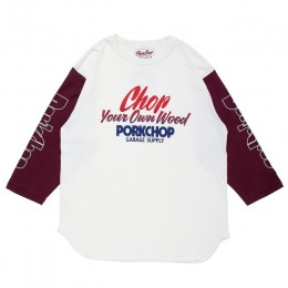 Chop Your Own Wood Baseball TEE / WHITE x BURGUNDY