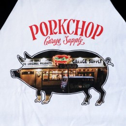 PORKCHOP GARAGE SUPPLY - Shop Photo Raglan TEE - BLACK