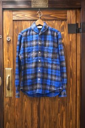 Shawl Collar SHT BLUE CHECK