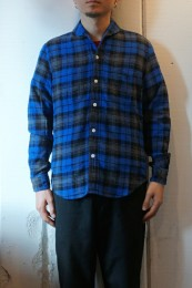 The Stylist Japan - Shawl Collar SHT BLUE CHECK