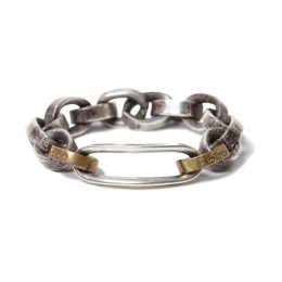 925 Silver Chain Ring with Brass