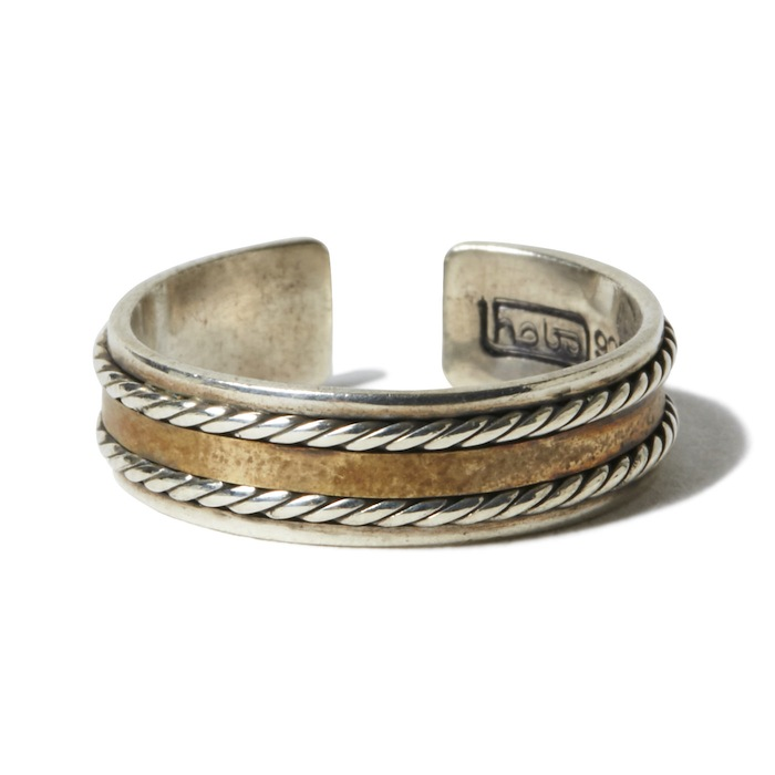 hobo - 925 Silver Wire Ring with Brass Plate