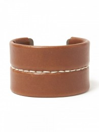 Gardener Bangle Wide Brass with Cow Leather