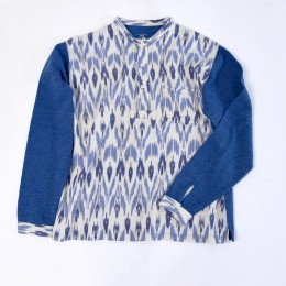 Henley Neck IKAT Waffle L/S CUT AND SEAW