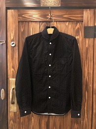 Shawl Collar Corduroy Dot SHT - Black
